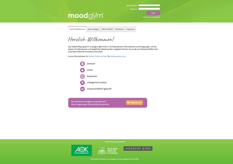 Screenshit moodgym Offizielle Website